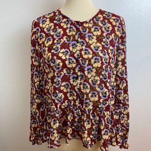 NWOT Madewell Viola Pansy Ruffle Top. Large